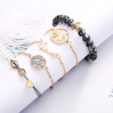 5PCS / set of love 8 letter world map turtle gray beaded bracelet fashion Europe and America jewelry party