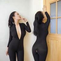 שחור פסים Sheer בגד גוף מפשעה פתוחה הלבשה תחתונה סקסית חמות נשים סיבים חלק רוכסן כפול ארוך שרוולים סקסי את בגד גוף