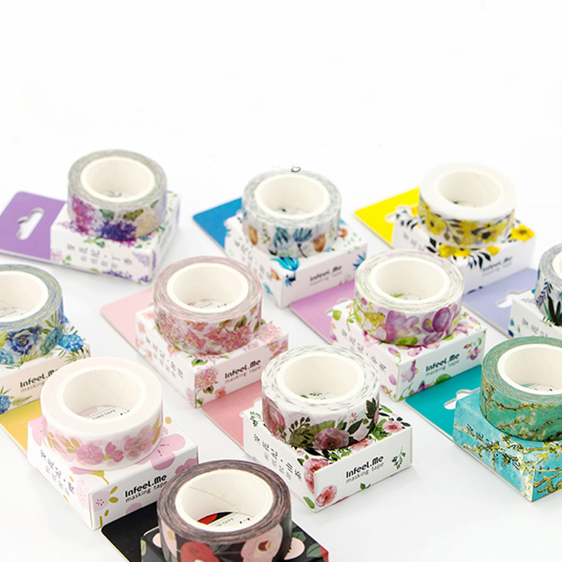 DIY Cute Kawaii Flower Masking Washi Tape Lovely Decorative Adhesive Plants Tape For Home Decoration Diary Notebook Stationery diy cute kawaii cartoon 5mm slim washi tape lovely fruit adhesive tape for decoration photo album school free shipping 3454 page 8