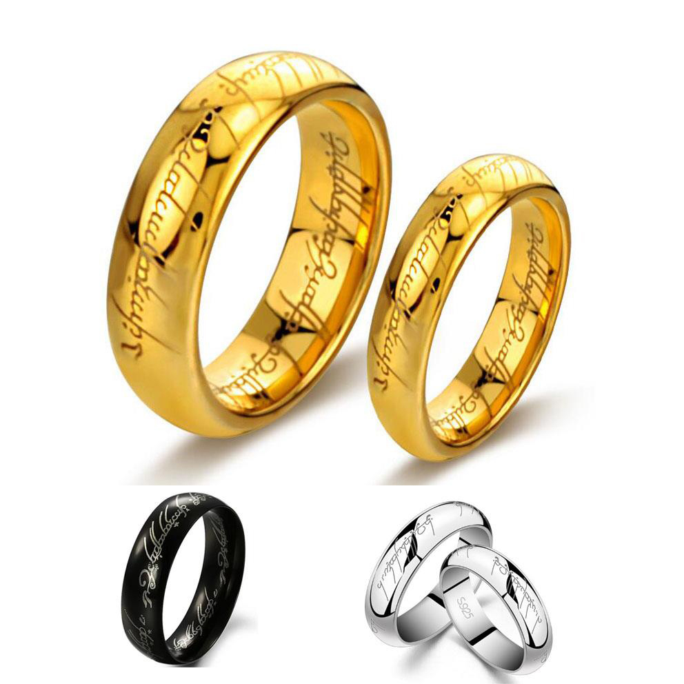 2018 New Fashion Tungsten One Ring of Power Gold the Lord of Rings ...
