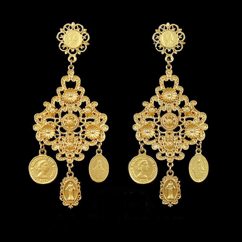 Women's Baroque Dangle Earrings Party Retro Carved Coins Drop Earring Oorbellen Eardrop Aretes Brincos Jewelry Gift