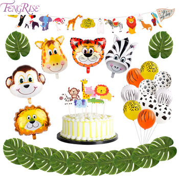 FENGRISE Animal Ballons Birthday Jungle Safari Party Globos Jungle Birthday Party Theme Party Baloon For Kids Birthday Balloons 2020 men casual leather sandals summer classic men shoes slippers soft sandals men roman sandals comfortable walking footwear