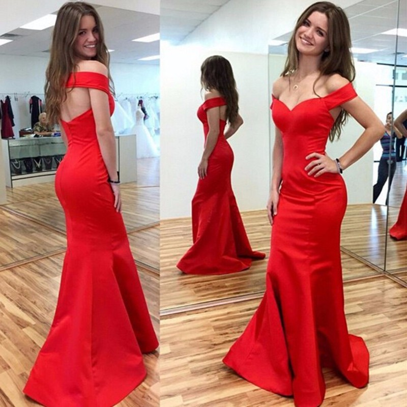 1751d9e20b55 Elegant Simply 2016 New Sexy Summer Boat Neck Red Satin Mermaid Prom  Dresses Long Evening Party Dress vestido de festa-in Prom Dresses from  Weddings ...