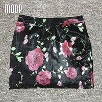 Red Floral Print Genuine Leather Skirts Women Slim Mini Pencil Skirt Faldas Jupe Saia Etek Sheepskin