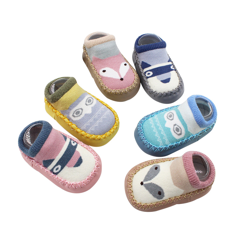 1 Pair Cartoon Shoe Socks For Baby Combed Cotton Anti Slip Floor Socks Leather Sole Towel Socks For Kids Infant Home Slippers h4 60 55w vision plus 2 шт philips