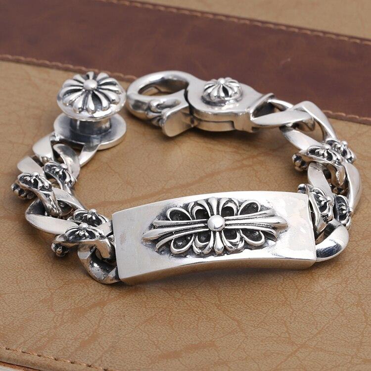 Vintage Echt Reine 925 Sterling Silber Handgemachte Geflochtene Kette Armband Für Männer Schmuck Herren Armbänder 2018