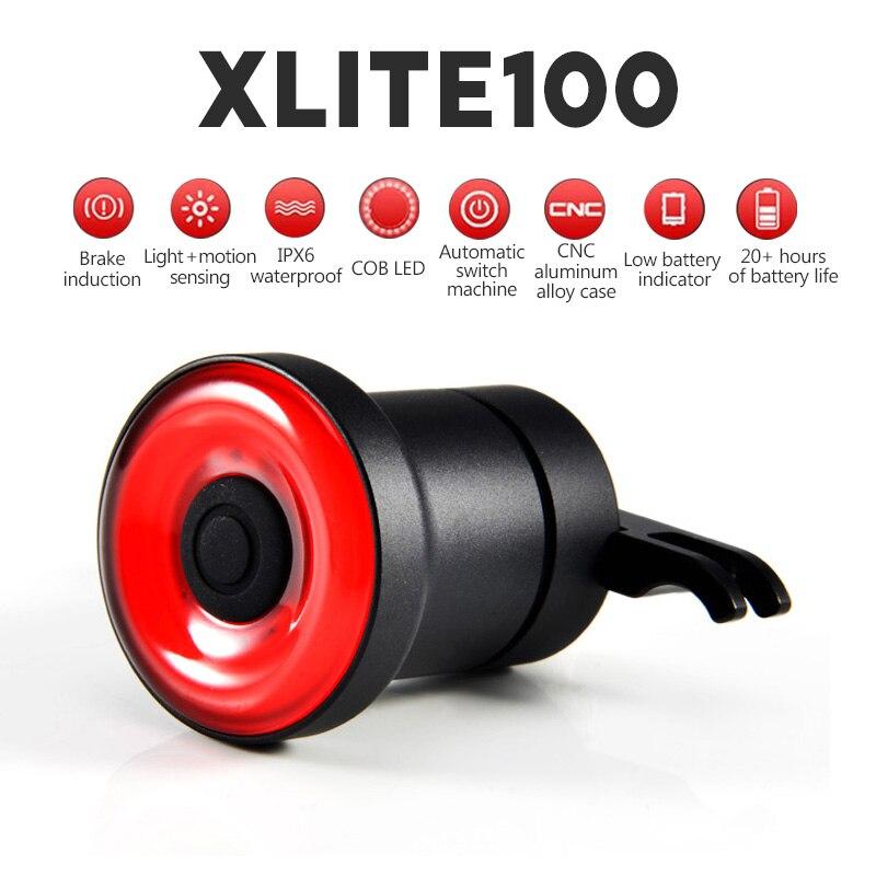 Xlite100 linterna inteligente para la luz de la bicicleta luz trasera de bicicleta de arranque automático/freno parada de IPx6 impermeable bicicleta luz de la cola