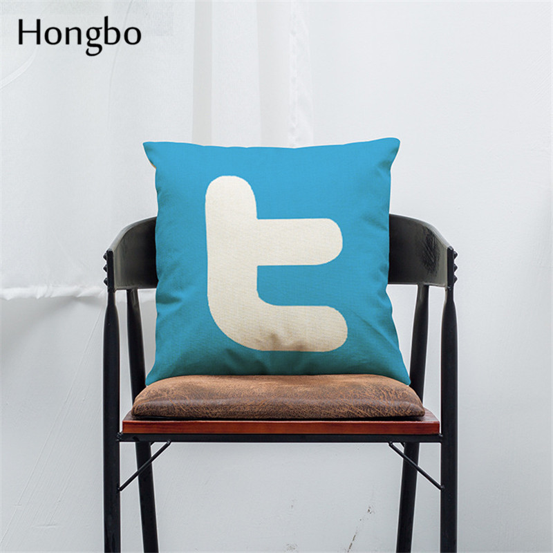 Hongbo Cushions Cover Facebook YouTube Skype Media Logo Cushions Cover Linen Cushions Cover 45x45cm in Cushion Cover from Home Garden