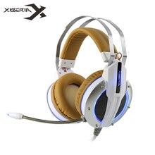 Xiberia X11 Gaming Headset Juego de Auriculares Estéreo Bajo Profundo con Función de Vibración/Micrófono/Led para Ordenador Gamer