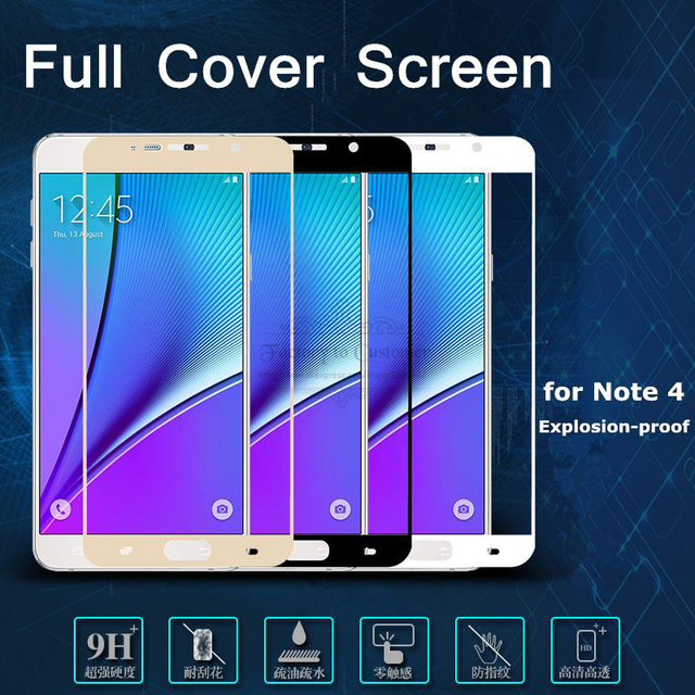 Colorful Tempered Glass for Samsung Galaxy Note 5 Note 4 Note 2 Full Coverage 9H Anti Explosion Screen Protector Toughened Glass