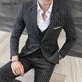 UPS de Envío Libre de Los Hombres de La Raya Negro Blazer Trajes Un Botón de Encargo de Los Hombres de La Boda Trajes A Medida Chaqueta Para Los Hombres (chaqueta + pantalones + chaleco)