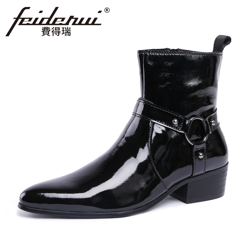 Italian Style Patent Leather Mens Chelsea Ankle Boots Pointed Toe High-Top Handmade Cowboy Motorcycle Man Wedding Shoes YMX215Italian Style Patent Leather Mens Chelsea Ankle Boots Pointed Toe High-Top Handmade Cowboy Motorcycle Man Wedding Shoes YMX215