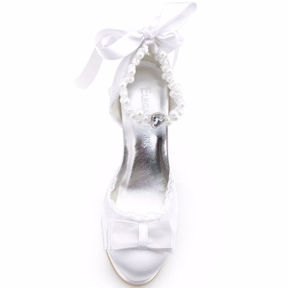 5d6b49435cbbe Kobieta Buty Ślubne Ivory Biały Closed Toe Szpilki kostki Pasek Bow ...