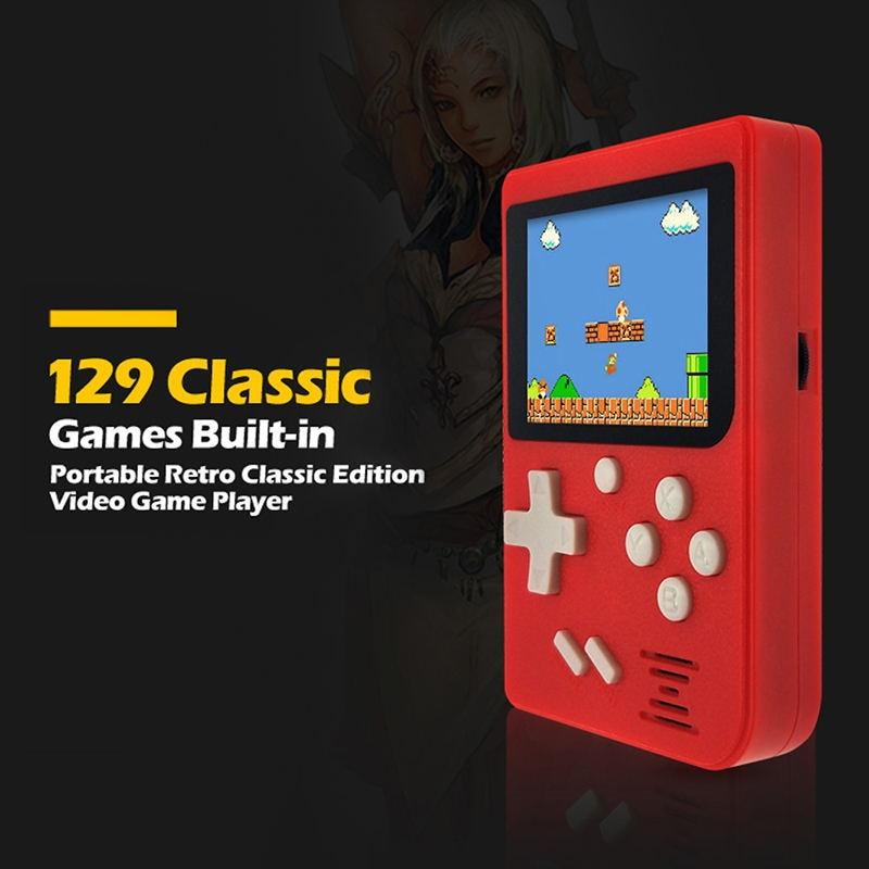 5pcs Children Retro Mini Portable Handheld Game Console Players 8 Bit Classic Video Handheld Game Console Built-in 129 Games