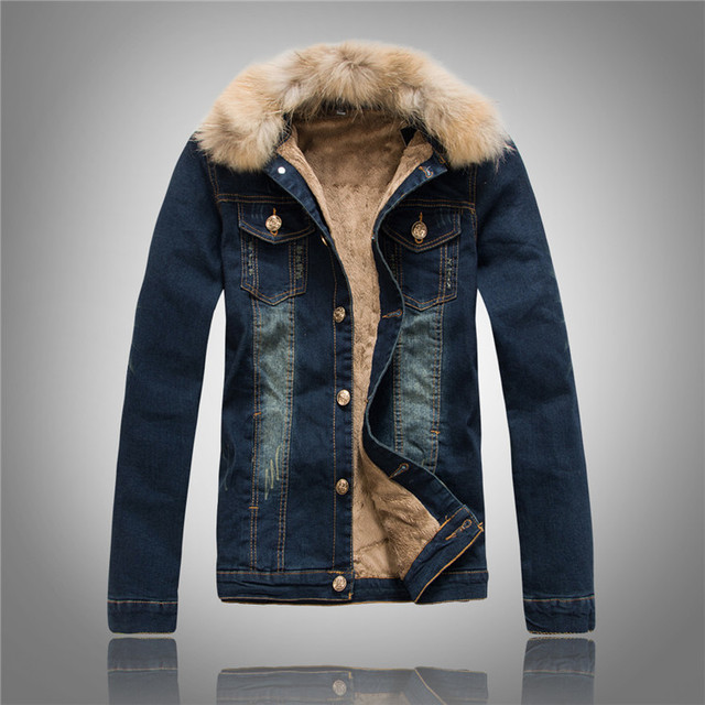 online retailer 7fdd5 1ceb3 US $45.55 15% OFF|Denim Jacket Fur Collar Men Winter Jeans Jacket With Fur  For Men Coat Fashion Bomber Jacket With Brown Faux Leanther Fleece-in ...