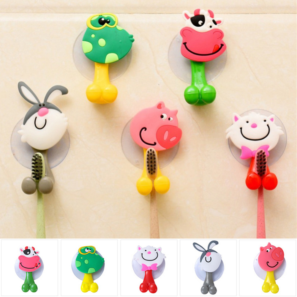 Baby Care Cute Cartoon Animal Shape Holder Sucker Suction Hooks Set Hanging Baby Toothbrush Holder Towels Etc полочки для ванной комнаты animal silicone toothbrush holder cute animal silicone toothbrush holder