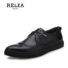 Купить с кэшбэком RELKA Luxury Men Shoes High Quality Genuine Leather Pointed Toe Soft Low Heel Shoes Solid Classic Lace-up Fashion Men Shoes N22
