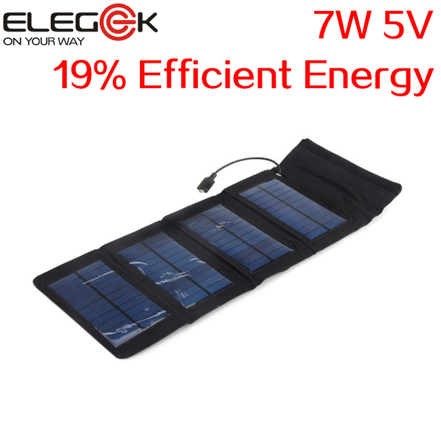 ELEGEEK 7W 5V Folding Solar Panel Charger Pack Outdoor Portable USB Solar Panel Charger for iPhone Samsung Android 5V Device