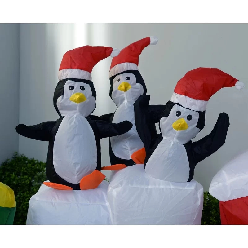 210cm+Pre-Lit+Santa+and+Penguins+Train+Inflatable+Christmas+Decoration+with+LED+Light+and+Fan.webp