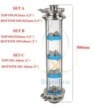 Nuevo SS304 de placas de columna de destilación con 4 Sección de destilación de la columna de vidrio