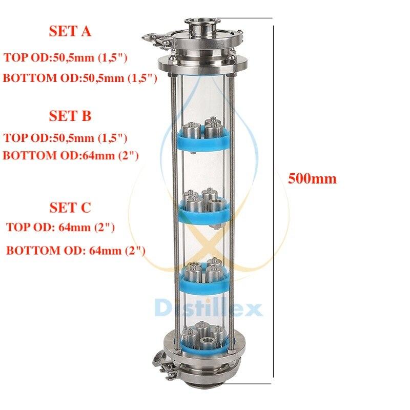 NOUVEAU SS304 bulle plaques Distillation Colonne avec 4 section pour Verre de distillation colonne