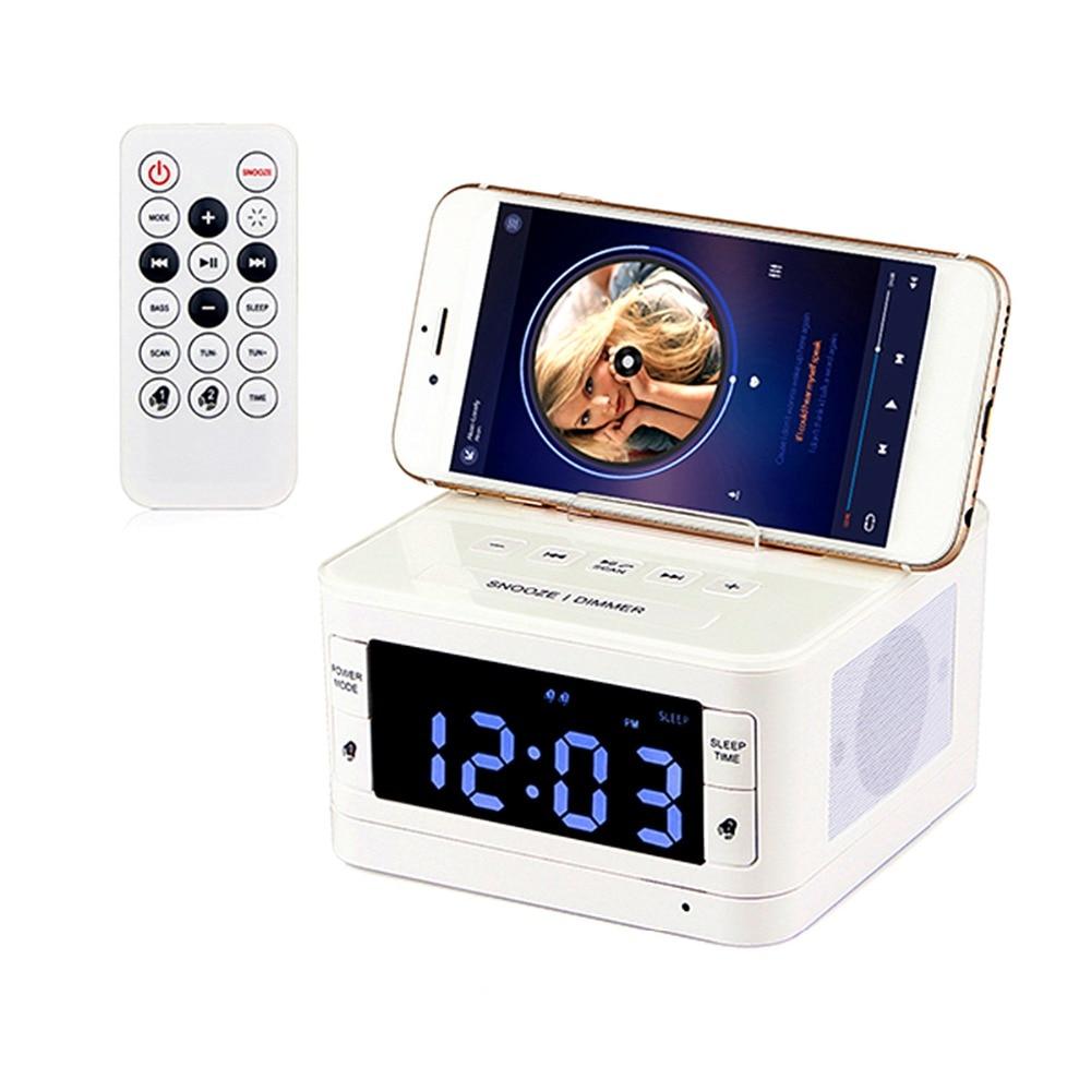 Remote Control Digital Bluetooth Speaker Lossless Music Player Dual Alarm Clock FM Radio LCD Sleep timer USB Charger Y4435B ld752b wireless bluetooth speaker screen amplifier clock alarm fm radio