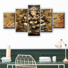 Modern HD Printed Canvas Posters Home Decor 5 Pieces India Ganesha Paintings Wall Art Elephant Trunk God Pictures Unframed coffee printed unframed split wall art canvas paintings