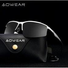 AOWEAR солнцезащитные очки без оправы мужские поляризованные Роскошные качественные алюминиевые магниевые ретро солнцезащитные очки для мужчин Gafas De Sol Hombre