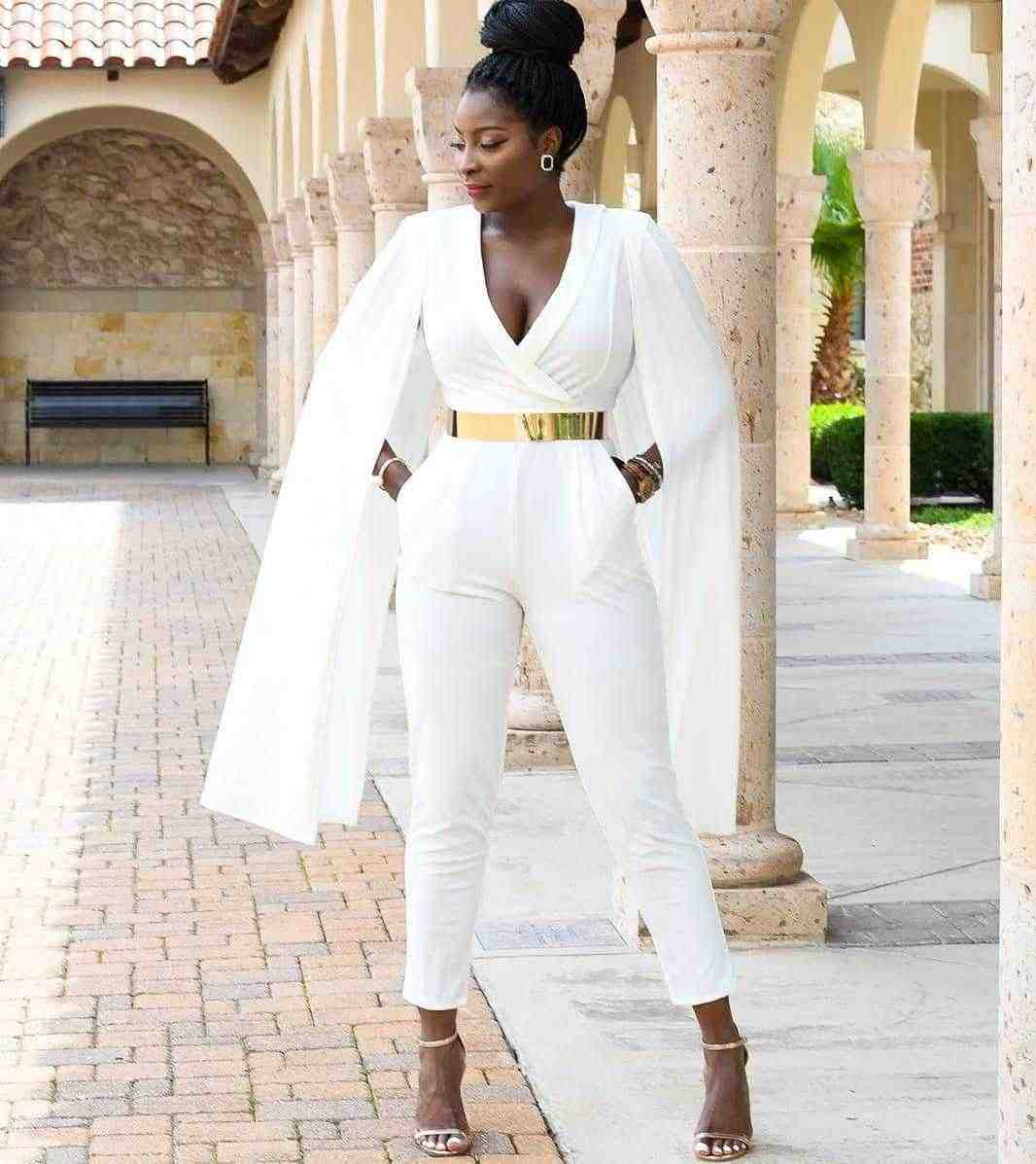 6424e5425167 Ladies Sexy Deep V Neck Slim Overalls Chic Cape Sleeve Office Work Jumpsuit  Solid Autumn White