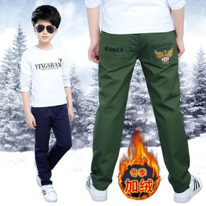Image 2 - Boys pants teenage winter velvet warm pants kids long style solid causal trousers 3 15T baby boys outwear children clothes