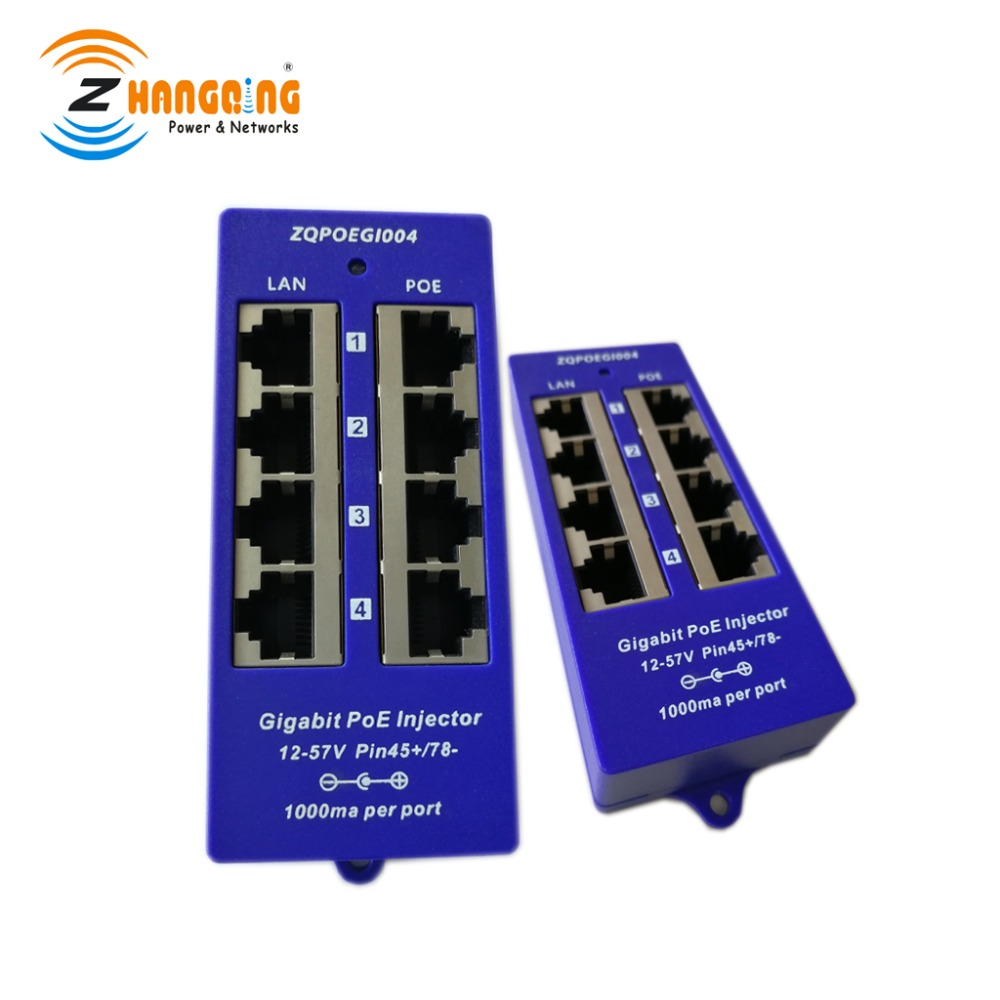 48V Or 24V Gigabit Passive PoE Injector 4 Port 1000Mbps PoE Patch Panel For Security IP Camera WiFi Access Point, UBNT