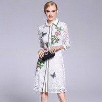 Тонкий кружевной вышивкой Рубашки 2018 новый бренд взлетно посадочной полосы женщин платье на весну и лето Высокое качество офис леди прямые