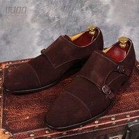 Итальянская мужская обувь ручной работы из натуральной замши, черные/коричневые Монки с двойной пряжкой и круглым носком, деловые туфли веч