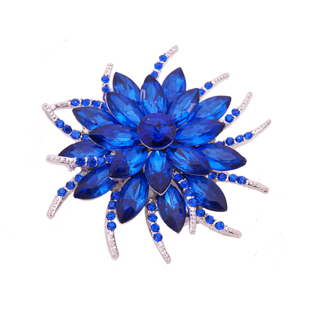 Austrian Crystal Brooch Pins For Women Top Quality Flower Broches Jewelry Fashio