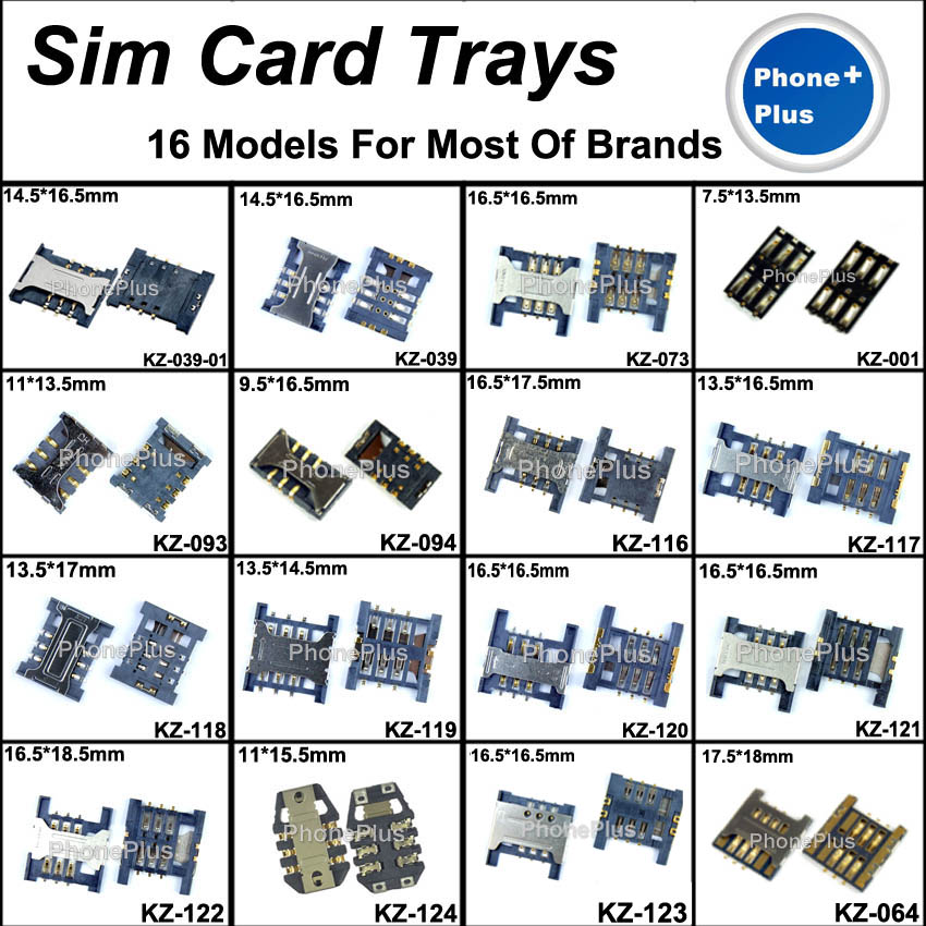 16 Models 32pcs SIM Card Tray Slot Connector Socket With Gift Screws For All Phone Universal Common Compatible Used