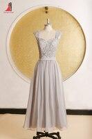 2017 Elegant Grey Bridesmaid Dresses Cap Sleeves Appliques Chiffon Long Women Bridesmaid Dress For Wedding Vestido