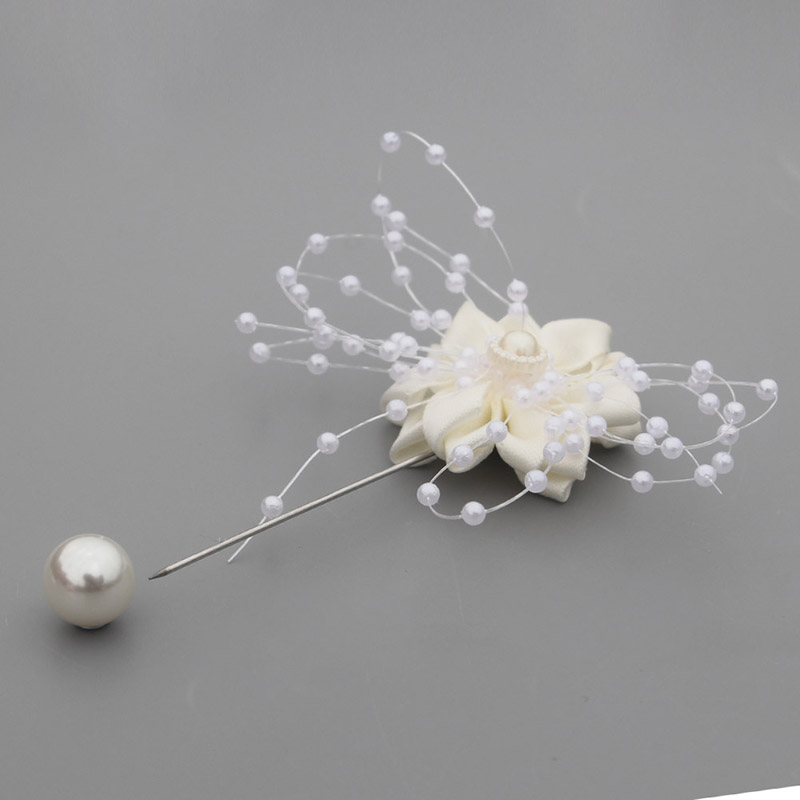 WifeLai-A 2piece Ivory Pearls Beaded Ivory Satin Flowers Pin Bridal Pearl Beads Flowers for Wedding Groom Boutonniere XH0679-17