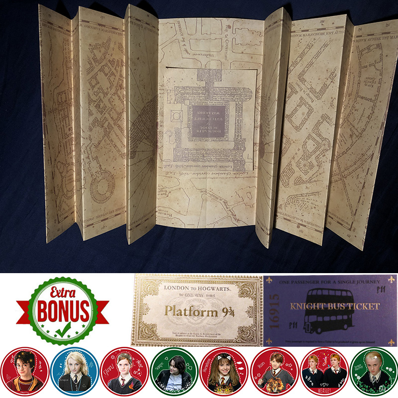 The Marauder's Map/Harry's Letter/Platform 3/4 Tickets Harry Movie Wizard Ron Hedwig Hermione King's Cross Railway Station