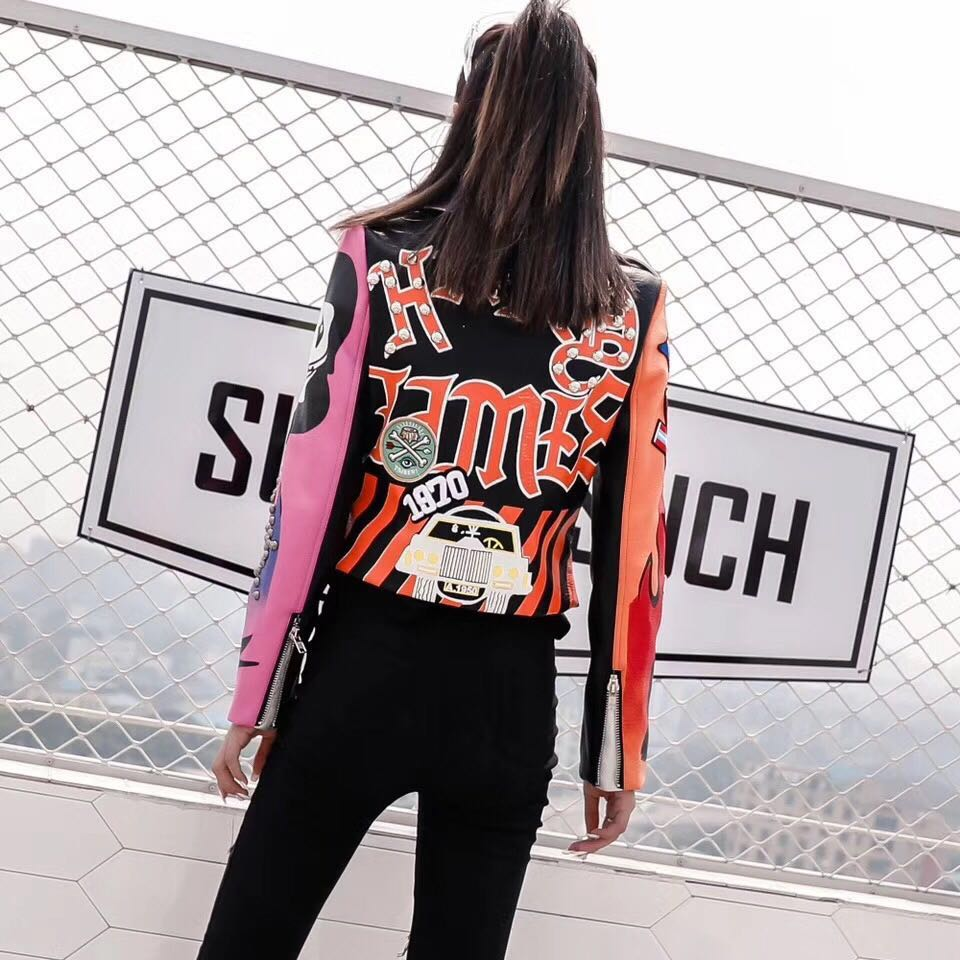 LORDXX Cropped Leather Jackets Women Hip hop Colorful Studded Coat New Spring Ladies Motorcycle Punk Cropped Jacket with belt 5