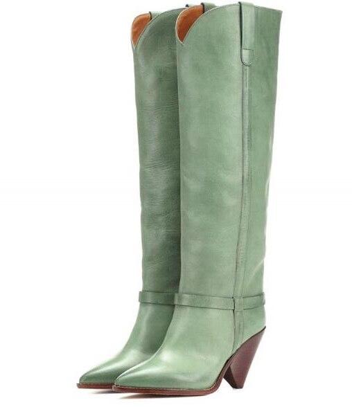Tacones Nuevo De Rodilla Botas 2019 Gota V Envío Forma Puntiagudo Verde Mujer Picture La Alta Luz Dedo As open Pie Primavera Dama Cuero Del qAOwdnpC