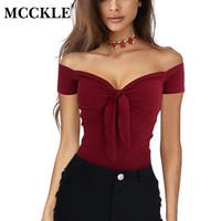 MCCKLE Women Sexy Off Shoulder Shirts Summer Fashion Ruffles Bow Slim Shirts Solid Sexy V Neck
