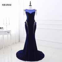 In Stock Cheap Sexy Long Floor Length Wedding Party Evening Dress Royal Blue Crystal Beading Mermaid Evening Dresses Prom Gown