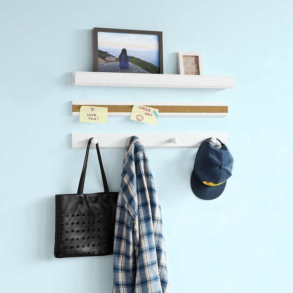SoBuy FRG139-W, Set of 3 Wall Shelves, Picture Ledge Shelf, Cork Memo Board and Coat Rack mahogany cork coaster box set of 4