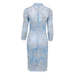 Image 2 - Dressv Elegante Cocktail Jurk Blauw Hoge Hals 3/4 Mouwen Knielengte Schede Gown Lady Homecoming Korte Cocktail Jurken