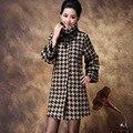 2014 Новая Осень Зима Пальто Мода Полный Рукав Водолазка Плед Плюс Размер Свободной Женщины Повседневная Шерстяные Длинное Пальто LY1106