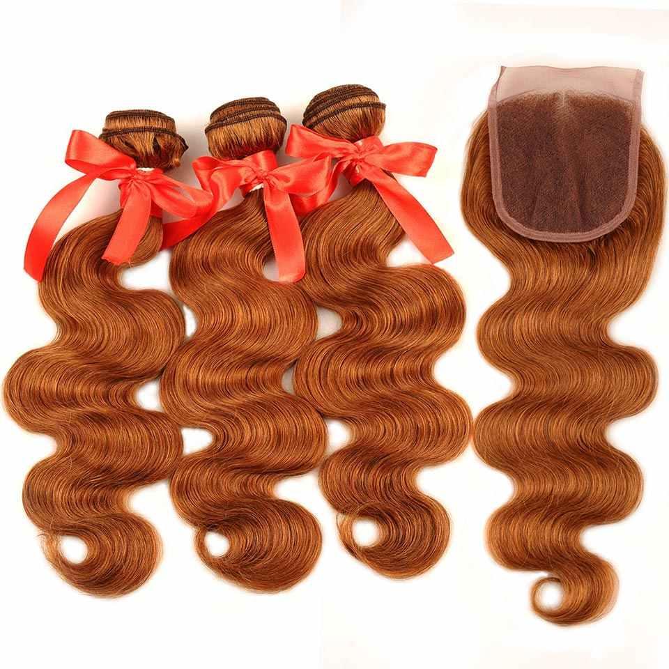 Pinshair Rambut Berwarna 30 Madu Pirang Bundel dengan Penutupan Tubuh Gelombang Peru Rambut Manusia 3 Bundel dengan Penutupan Non- remy Tidak Ada Gudang