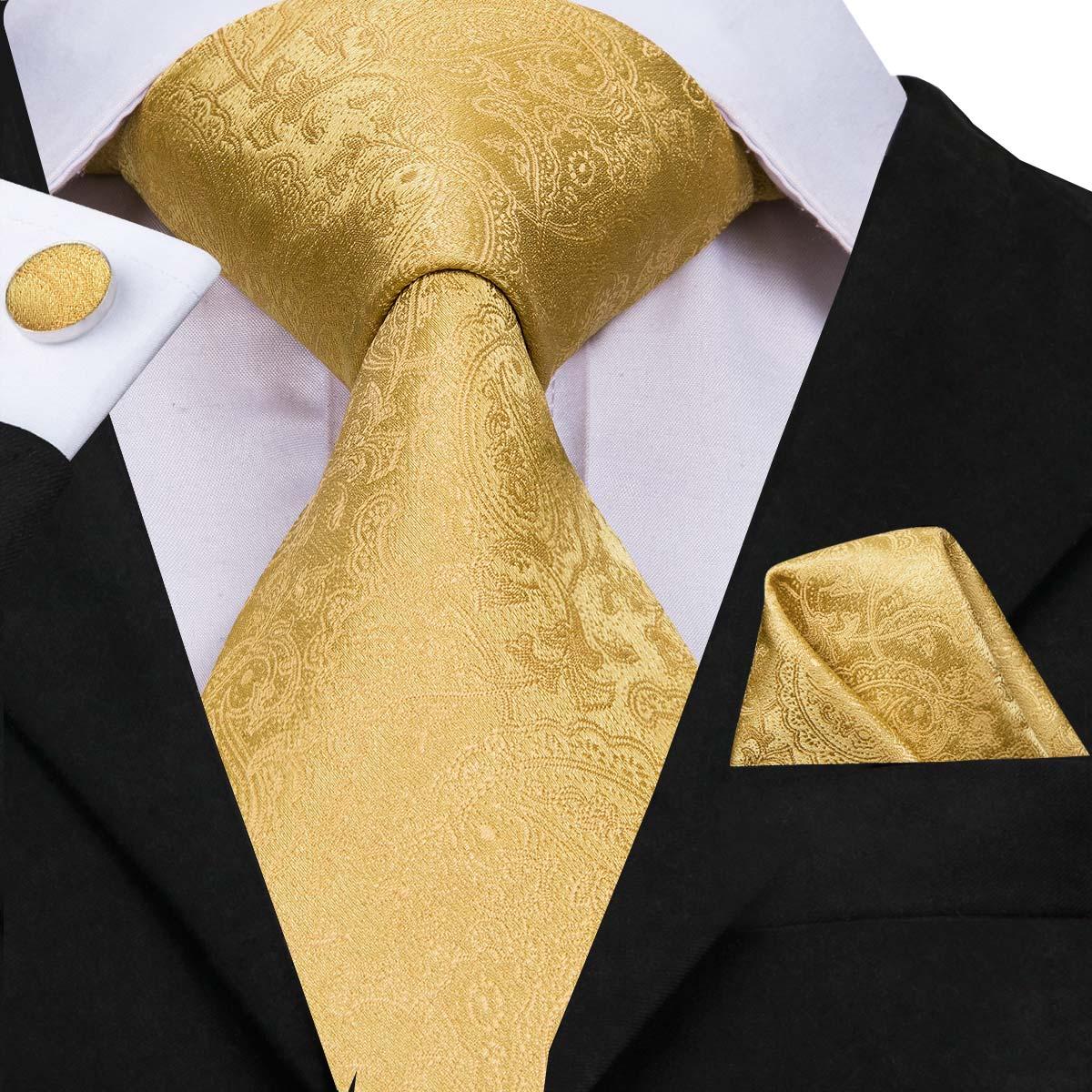 Hi-Tie Silk Men Tie Set Floral Yellow Gold Ties and Handkerchiefs Cufflinks Set Men's Wedding Party Suit Fashion Neck Tie C-3053