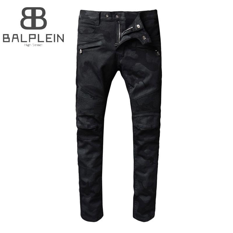 Black Color High Street Fashion Mens Jeans Camouflage Army Motor Jeans Homme Balplein Brand Slim Fit Denim Biker Jeans Men