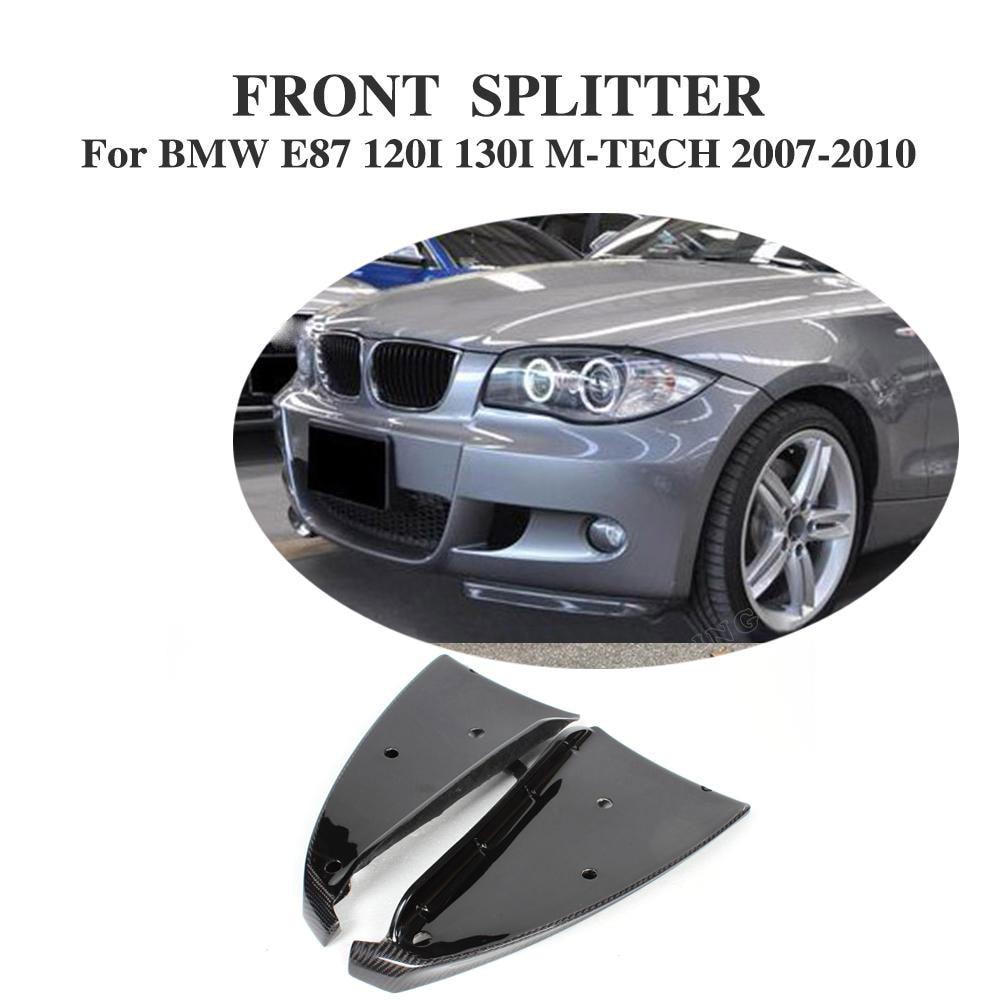 Carbon Fiber Front Bumper Lip Splitters Aprons Flaps For BMW 1 Series E87 M Tech M Sport Bumper 2007-2010 Car Styling carbon fiber frp unpainted car front bumper lip aprons splitters flaps for bmw 1 series e87 m tech m sport bumper 07 10 2pcs set