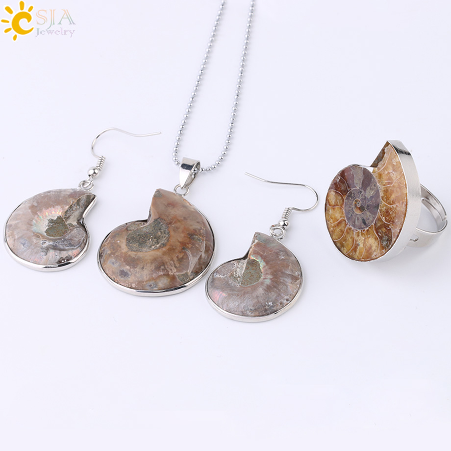 HTB1yRF.XcTxK1Rjy0Fgq6yovpXa8 - CSJA Hot Natural Ammonite Stone Jewelry Sets Necklace Earrings Ring Conch Shell Whorl Fossils Pendant Beach Jewellery Women F613